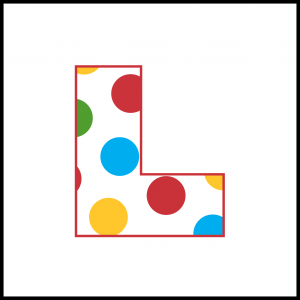 L-plate with coloured spots for Children in Need